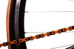 Orange bicycle chain Royalty Free Stock Image