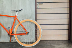 Orange bicycle parked decorate interior living room modern style. With cement mortar wall background stock images