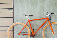 Orange bicycle parked decorate interior living room modern style Stock Images