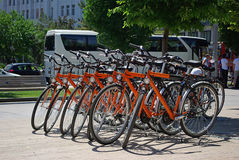 Orange bicycles royalty free stock image