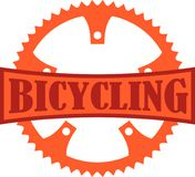 Bicycling Badge. Orange Bicycling badge with a bike chainring Royalty Free Stock Images
