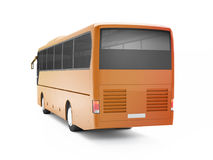 Orange big tour bus isolated on a white background. Royalty Free Stock Photography
