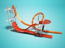 Orange big water slide with red water slide right side 3d render vector illustration