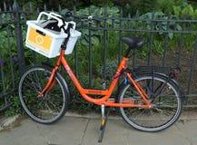 Orange bike in Brooklyn Stock Images