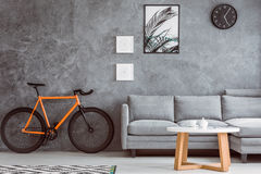Orange bike in living room. Orange bike next to grey sofa in living room with coffee table,black clock and posters on concrete wall Royalty Free Stock Photography