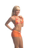 Orange Bikini-Blondine Stockbild