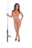 Orange Bikini Fisherman royalty free stock images