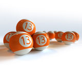 Orange billiard balls with number 13 Royalty Free Stock Photography