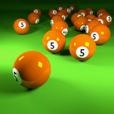 Orange billiard balls Stock Photos