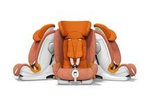 Orange bilsäte tre stycken främre sikt 3d att framföra på vit bakgrund med skugga royaltyfri illustrationer