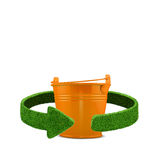 Orange bin. Recycling concept isolation on white Royalty Free Stock Photo