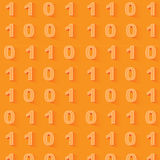 Orange binary code background. Seamless pattern. Stock Image