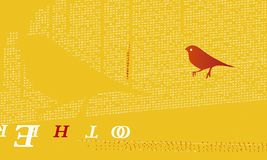 Orange bird. On a yellow background royalty free illustration