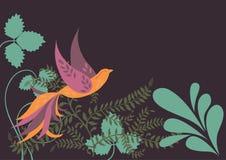 Orange Bird in Green Leaves. Single Orange Bird in Green Leaves Royalty Free Stock Image