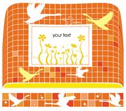 Orange birds background. Template with space reserved for your text Royalty Free Illustration