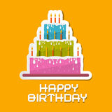 Orange Birthday Background Illustration Stock Photo