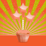 Orange Birthday cupcake Royalty Free Stock Photos