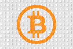 Orange bitcoin sign on gray binary code background. Banner: orange bitcoin sign on gray binary code background. Suitable for all crypto currencies, finance Stock Photography