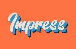orange blå vit imponerar text för det skriftliga ordet för handen för typografi vektor illustrationer