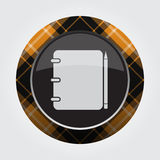 Orange, black button tartan - notepad and pencil Royalty Free Stock Photo