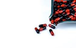 Orange-black capsule pills on drug tray. Antibiotics drug resistance. Drug use with reasonable. Antimicrobial capsule pills. stock image