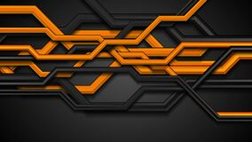 Orange and black 3d circuit board lines abstract motion background