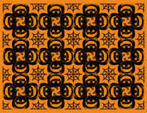 Halloween Pumpkin and spiderweb pattern Stock Photos
