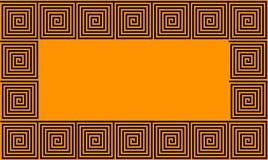 Orange and Black Frame Ancient Greek meander seamless pattern, simplistic black historical background. Geometric Optical Illusion stock illustration