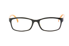 Orange-black glasses on white background Stock Photo