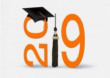 Orange and black graduation 2019 vector illustration