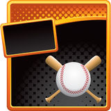 Orange and black halftone ad baseball with bats Royalty Free Stock Image