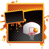 Orange and black halftone ad basketball goal Royalty Free Stock Photos