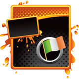 Orange and black halftone grungy ad irish flag Royalty Free Stock Image