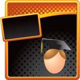 Orange and black halftone male graduate stock illustration