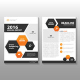 Orange black hexagon Vector annual report Leaflet Brochure Flyer template design, book cover layout design Royalty Free Stock Photography