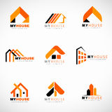 Orange and Black House logo set vector design Stock Photo
