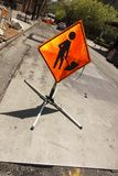Construction workers ahead sign. Orange black icon sign stand of worker. construction happening ahead royalty free stock images