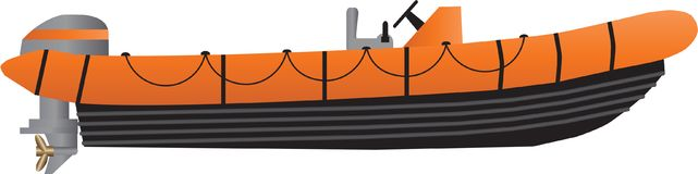 An Orange and Black Inflatable Boat Stock Photos
