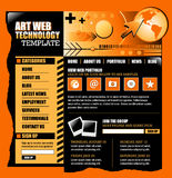 Orange and Black Internet Website Template. An orange and black internet website template for your business. There is a globe earth in the corner and a mouse on Stock Photo