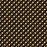Orange on black line and polka dots in lines seamless repeat pattern background Royalty Free Stock Images