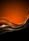 Orange Black and Metal Luxury Background. Orange blurry waves with metal wave and black background Royalty Free Stock Photo