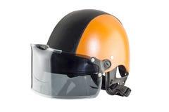 Orange black motorcycle helmet Stock Images