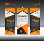 Orange and black Roll Up Banner template, stand template,vector Stock Photos