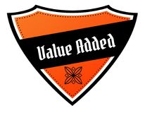 Orange and black shield with VALUE ADDED text. Illustration Stock Photos