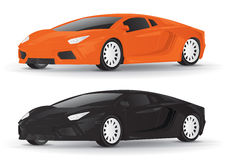 Orange and Black Sports Car Vector Illustration Royalty Free Stock Images