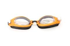 Orange and black swimming plastic goggles Stock Photos