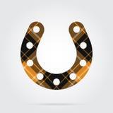 Orange, black tartan icon - horseshoe with holes Royalty Free Stock Image