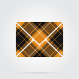 Orange, black tartan icon - mailing envelope. Orange, black  tartan icon with white stripes - mailing envelope and shadow in front of a gray background Stock Image