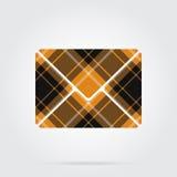 Orange, black tartan icon - mailing envelope Stock Image