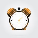 Orange, black tartan isolated icon - alarm clock Royalty Free Stock Photos